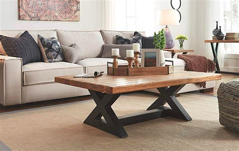 Farmhouse coffee tables are the rave right now because of the beauty they bring into a dwelling space. Large-Rustic-X-Coffee-Table-Black-Legs-Thick-Wood-Top - Awesome Decors