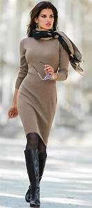 Taupe knitted dress black boots u0026 contrasting scarf. Winter s ...   SnapFashionista.com