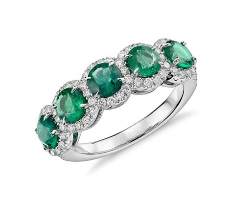 emerald and diamond five stone halo ring in 18k white gold 4 5mm blue nile