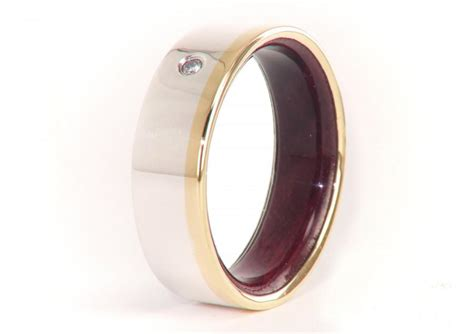 olive wood ring 18k gold and silver diamond mens