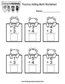 Math Worksheets Free Free Printable Practice Adding Math Worksheet For Kindergarten