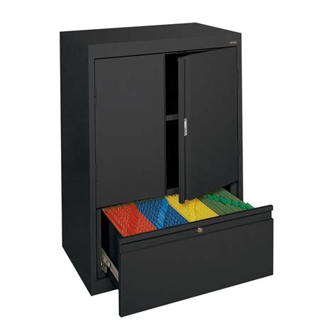 sandusky system series 30 in w x 42 in h x 18 in d counter height storage cabinet with file
