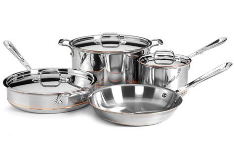 clad copper core signature cookware set  piece cutlery