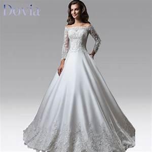 vestido de noiva elegant boat neck ball gown wedding With elegant long sleeve wedding dresses