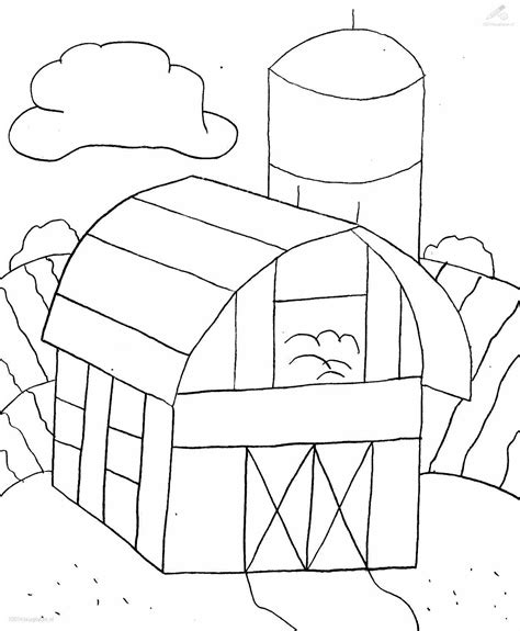Schuur Kleurplaat by Farm Coloring Page