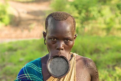 woman   african tribe surma  big lip plate stock photo  image  istock