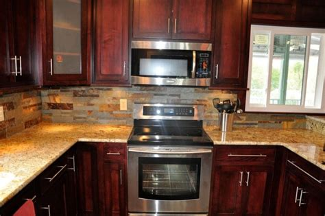 ideas for kitchen countertops and backsplashes backsplash ideas for cherry cabinets kitchen