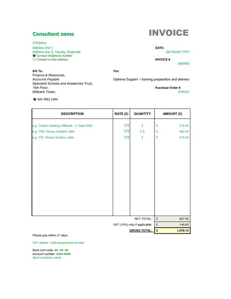 Invoice Template Consultant Invoice Format Invoice Template Ideas