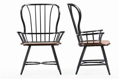 Chair Industrial Arm Dining Metal Wood Chairs