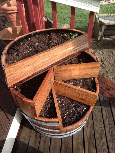 barrel planter   single wine barrel  wood