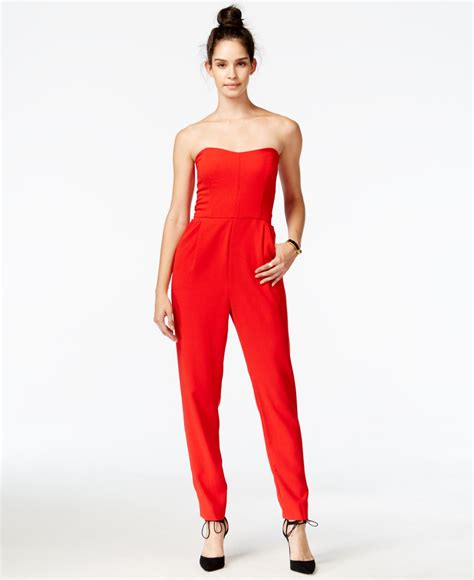strapless jumpsuit roy strapless jumpsuit in lyst