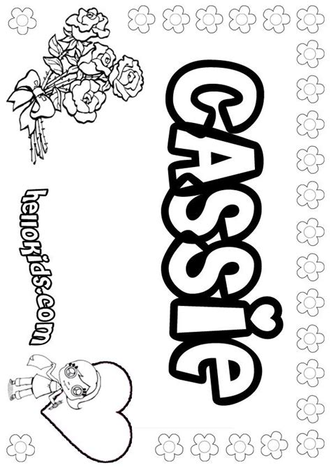 cassie coloring page grandaughters names  coloring