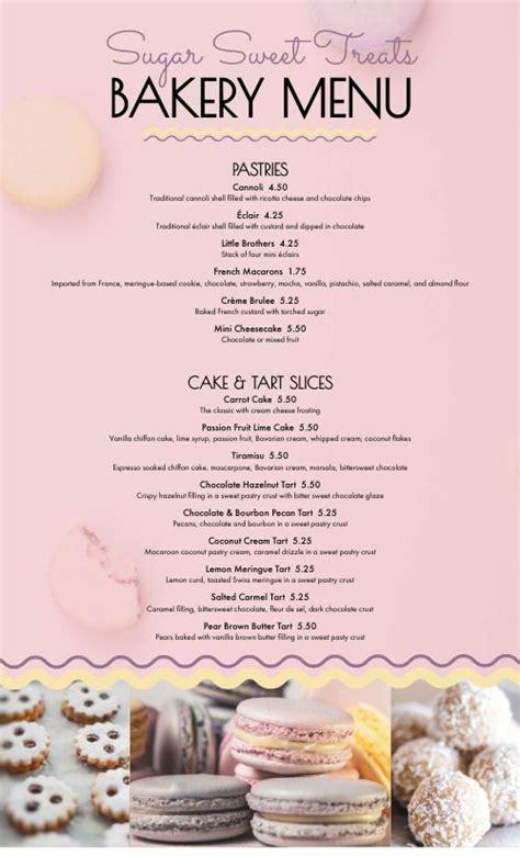 sweet treats bakery menu design templates  musthavemenus