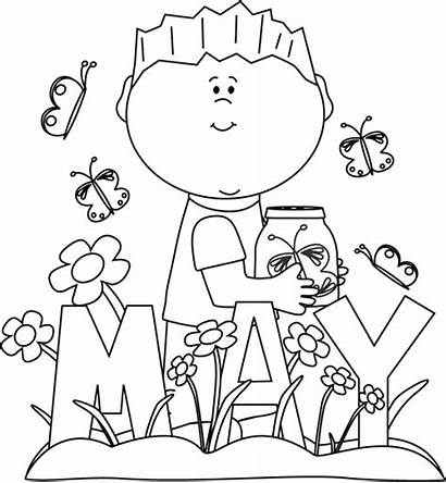 Spring Coloring Pages Flower Clip Month Flowers