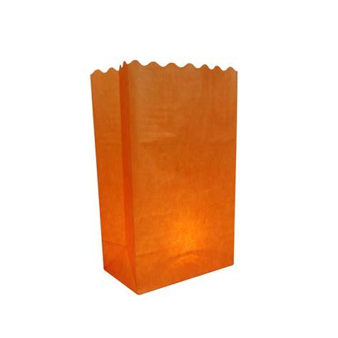 orange solid color luminarias paper craft bag 10 pack fire retardant