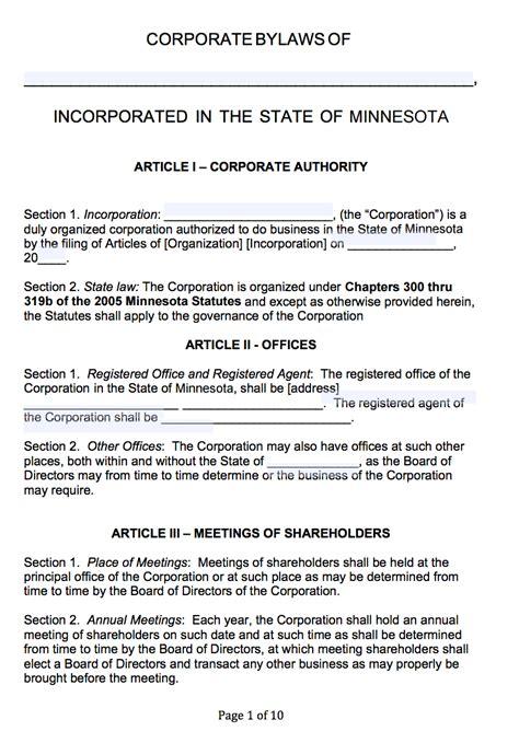 free minnesota corporate bylaws template pdf word