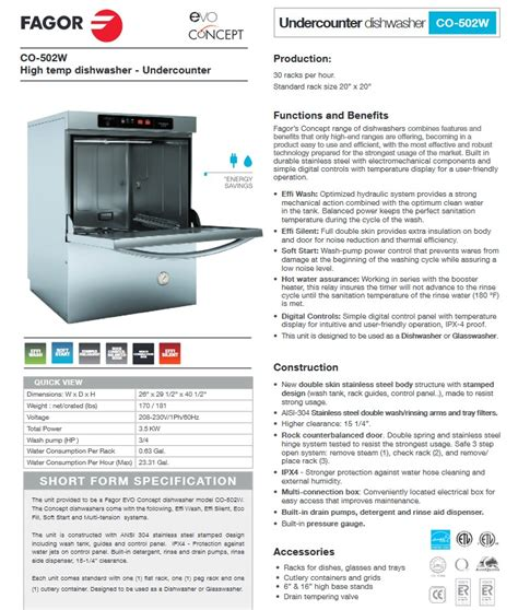 Restaurant Dishwasher Description by Fagor Co 502w Evo Concept Commercial Undercounter
