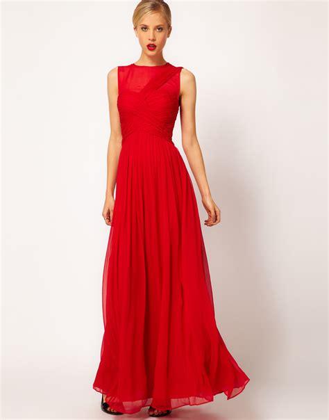 mango premium maxi dress  red lyst