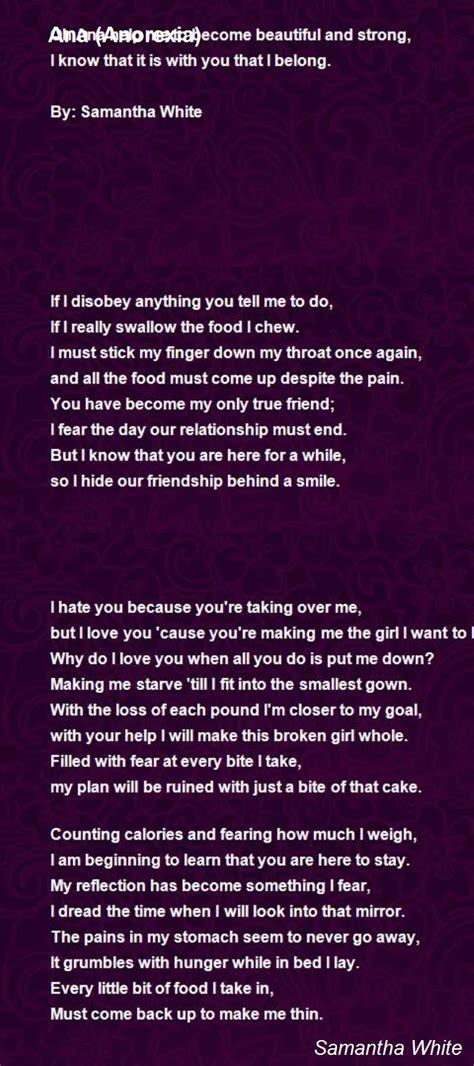 ana anorexia poem  samantha white poem hunter