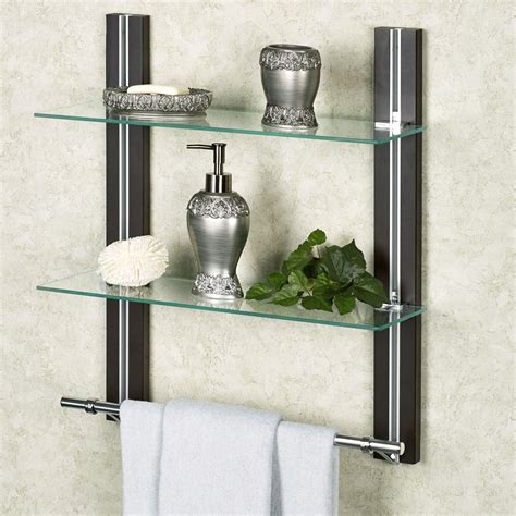 bath shelves with towel bar two tier glass bathroom shelf with towel bar