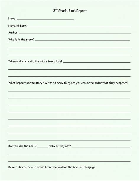 1st 2nd 3rd 4th 5th Grade Book Report Template