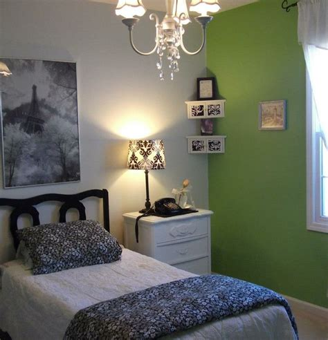 white themed bedrooms green white black and grey paris themed bedroom for teen i like just the accent wall only