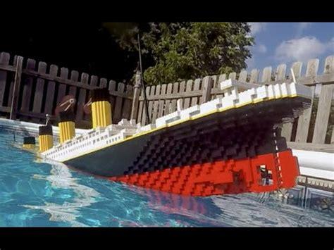 lego ship sinking in pool sinking lego titanic 7 foot model