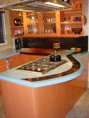 custom dyed concrete countertop with absolute black