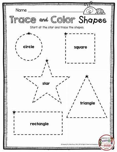 Tracing Kindergarten Shapes Shape Worksheets Names Math