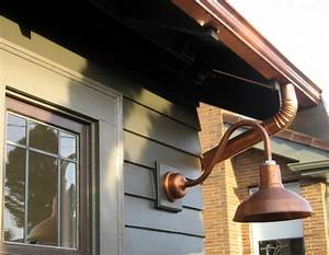 copper gooseneck lighting for 1920s craftsman style home With barn style exterior lights