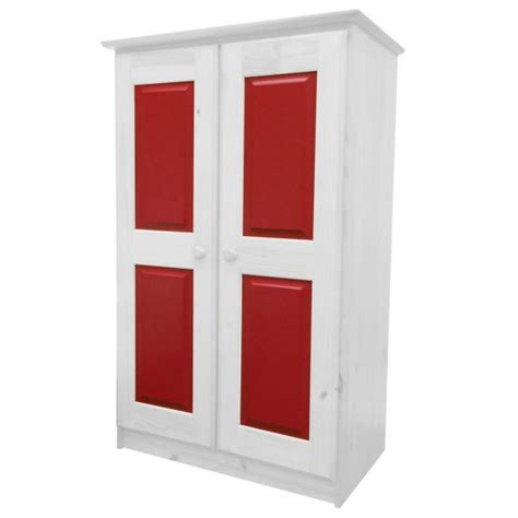armoire en pin massif coloris blanc lasure et rouge