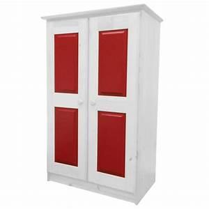 Armoire En Pin Massif : armoire en pin massif coloris blanc lasure et rouge ~ Teatrodelosmanantiales.com Idées de Décoration