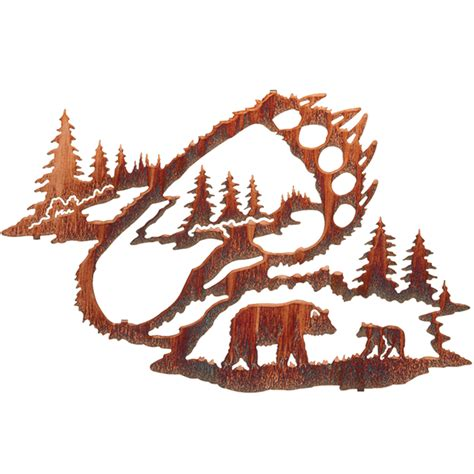 reflections   wilderness bear tracks wall hanging