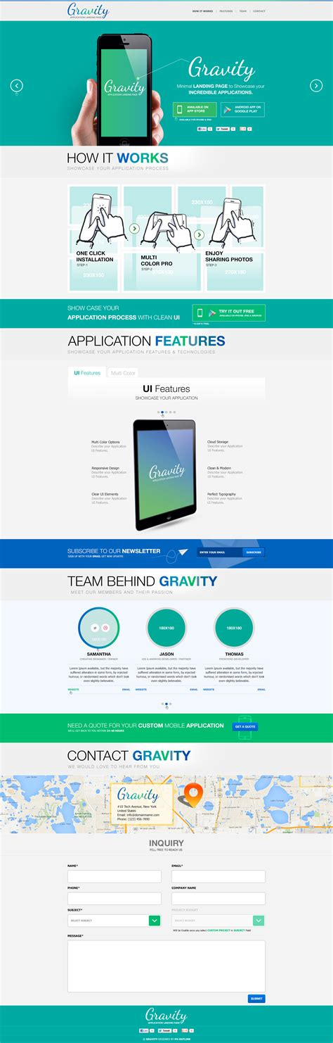 Themeforest Gravity Material Mobile App Template by Gravity Mobile App Landing Page Responsive Html By