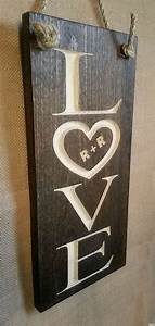 l o v e sign with carved sweetheart initials by randrsigns With carving letters in wood with router