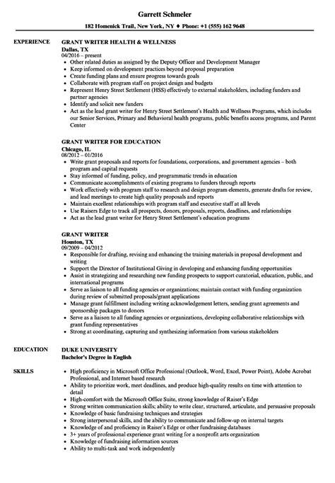 grant writer resume sles velvet