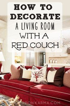 decorate  living room   red couch coupon