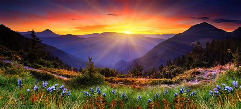 Download Wallpaper Mountains, Sunset, Sun, Landscape Free