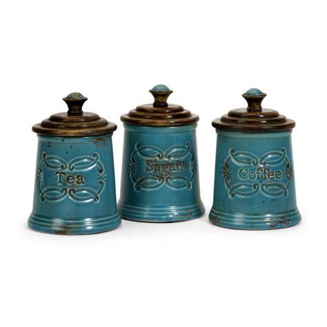 canister kitchen filament design lenor 7 5 in blue ceramic canister set