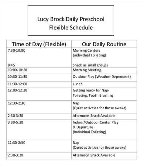 preschool schedule template 7 free word pdf documents 299 | Free Printable Preschool Schedule Template