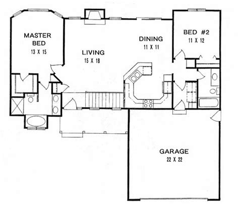 2 bedroom ranch floor plans house plan 62518 at familyhomeplans com