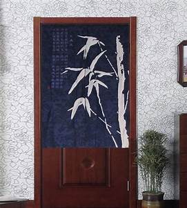 noren bamboo batik half door curtain contemporary With fabric doorway curtains