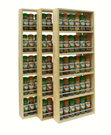 Wooden Spice Racks Uk by Solid Pine Spice Rack 5 Shelves Kitchen Worktop Wall