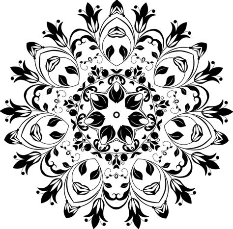 Black Design Png by Free Vector Graphic Flourish Floral Flower Mandala