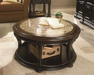 round cocktail table with top stone inlay by hammary With round marble and wood coffee table