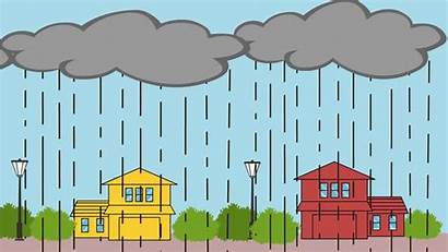 Rain Heavy Cartoon Monsoon Sky Animation Clouds