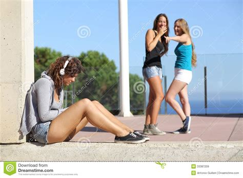Two Teen Girls Bullying Another One Stock Image Image