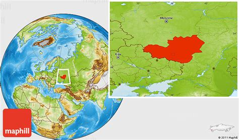 physical location map  central chernozem