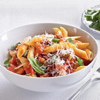 light pasta dishes healthy dinner recipe fresh tomato sausage and pecorino