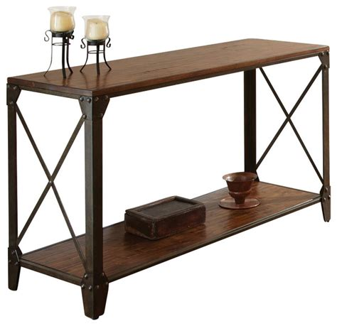 industrial metal console table steve silver company winston sofa table in distressed